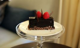 Dessert de la meilleure qualité de gâteau chaud avec de la lave chaude de choco à l'intérieur du bonbon exquis, cuisine unique de Photos stock