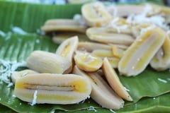 Dessert de la Thaïlande - banane, potirons, maïs, soja, décharge douce Image libre de droits