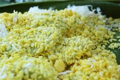 Dessert de la Thaïlande - banane, potirons, maïs, soja, décharge douce Photographie stock