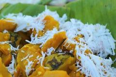 Dessert de la Thaïlande - banane, potirons, maïs, soja, décharge douce Photos libres de droits