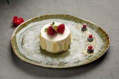 Dessert de lait avec le fruit et le chocolat sur un fond gris image stock