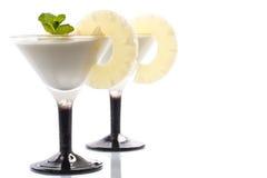 Dessert de lait caillé d'ananas Photos libres de droits