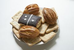 Dessert de Lugansk ` de domino de ` de gâteau eclairs Image libre de droits