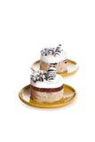 Dessert de luxe de la plaque ronde Photographie stock