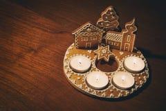 Dessert de Noël sur la table images stock