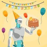 Dessert de participation de humanoïde sur Tray Flat Illustration illustration libre de droits