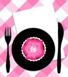 Dessert de plaque, de couteau et de fourchette Photographie stock