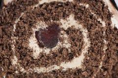 Dessert de roulis d'éponge de chocolat Images libres de droits
