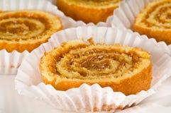 Dessert de roulis de caramel Photographie stock