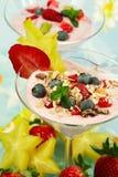 Dessert de yaourt avec des fruits photos stock