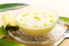 Dessert de yaourt d'ananas Photographie stock libre de droits