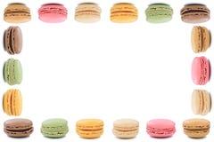 Dessert dei biscotti dei maccheroni di Macarons dal copyspace della struttura della Francia Immagine Stock