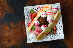 Dessert del banana split Fotografia Stock Libera da Diritti