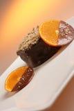 Dessert del cioccolato con frutta Fotografia Stock Libera da Diritti