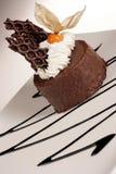 Dessert del cioccolato con frutta crema ed esotica Fotografia Stock