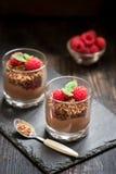 Dessert del cioccolato con i lamponi Fotografia Stock Libera da Diritti