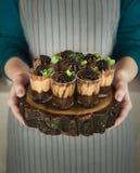 Dessert del cioccolato della tenuta del cuoco unico con la mora immagine stock