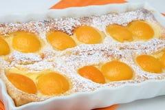Dessert del grafico a torta della pesca con zucchero in polvere Immagini Stock