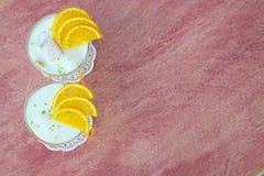 Dessert del latte con l'arancia Immagine Stock Libera da Diritti