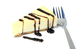 Dessert, delicious cheesecake with chocolate sauce. Dessert - Delicious cheesecake with chocolate sauce, on white background Stock Photos