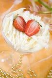 Dessert della fragola in un vetro Fotografia Stock