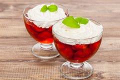 Dessert della gelatina di Strawberyy Fotografia Stock