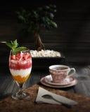 Dessert della torta di formaggio della fragola Immagini Stock