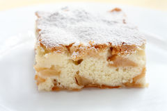 Dessert della torta di mele con zucchero in polvere su un piatto Immagine Stock Libera da Diritti