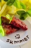 Dessert des fraises surgelées sur un bâton Photographie stock libre de droits