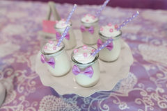 Dessert. S at an indoor wedding party Royalty Free Stock Images