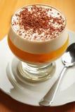 Dessert di gelatina con cioccolato e crema in vetro Fotografia Stock Libera da Diritti