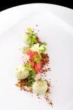 Dessert dinant fin, crème glacée de fraise/kiwi Photo stock