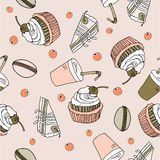 Dessert doodle  pattern  illustration Royalty Free Stock Image