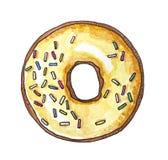 Dessert doux, beignet de vanille, aquarelle tirée par la main illustration de vecteur