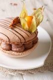 Dessert doux français : le macaron avec de la crème de chocolat a décoré des WI image stock