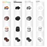 Dessert dragee, chocolate roll, chocolate pasta, puff pastry. Dessert set collection icons in cartoon black monochrome. Outline style vector symbol stock Royalty Free Stock Images