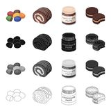 Dessert dragee, chocolate roll, chocolate pasta, puff pastry. Dessert set collection icons in cartoon black monochrome Royalty Free Stock Images