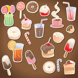 Dessert and drinks on the dark background Stock Images