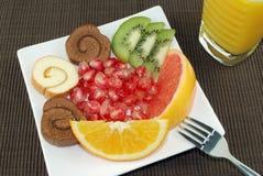 Dessert e frutta Fotografia Stock
