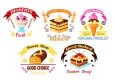 Dessert emblem set, cake, cupcake, ice cream icons Royalty Free Stock Images