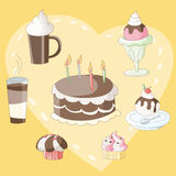 Dessert en drank met inbegrip van cake, cupcake, roomijs en koffie Stock Foto's