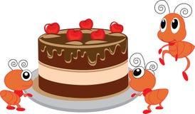 Dessert en mieren royalty-vrije illustratie