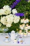 Dessert en theelijst in een tuin Royalty-vrije Stock Afbeeldingen