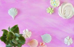 Dessert et succulents minimaux de meringue d'été de configuration plate sur le viole Photographie stock
