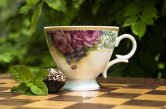 Dessert et thé avec la menthe Images libres de droits