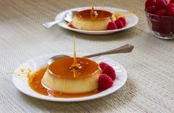 Dessert de Flan Photographie stock