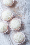 Dessert fait maison de sucrerie de truffes blanches arrosé dans des puces de noix de coco sur la fin en bois de fond  Praline dél photo stock
