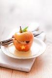 Dessert farcito della mela di Halloween Fotografie Stock