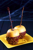 Dessert festivo della mela di Halloween Fotografia Stock