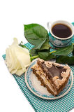 Dessert with flowers and coffee Royalty Free Stock Photography